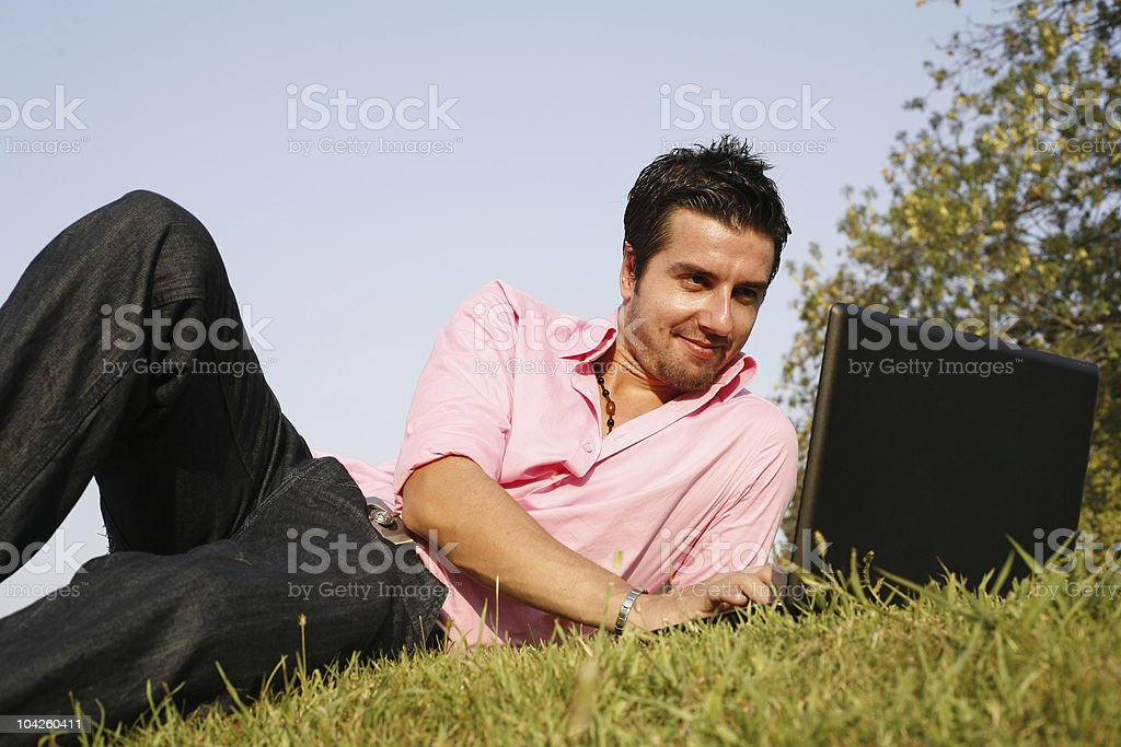 working in meadow royalty-free stock photo