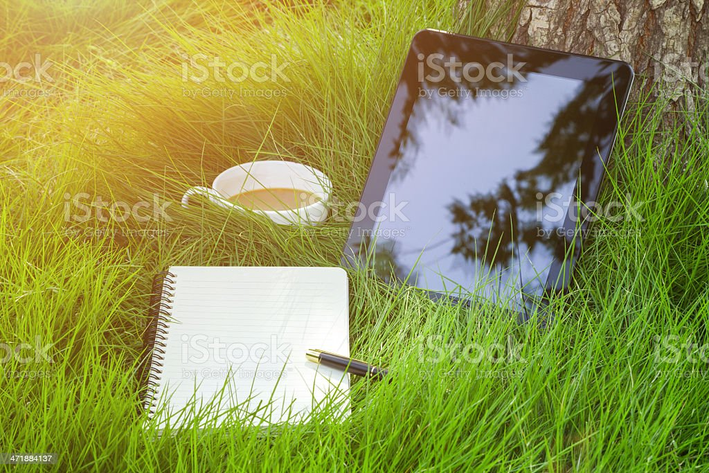 working in nature:digital tablet and coffee on grass background stock photo