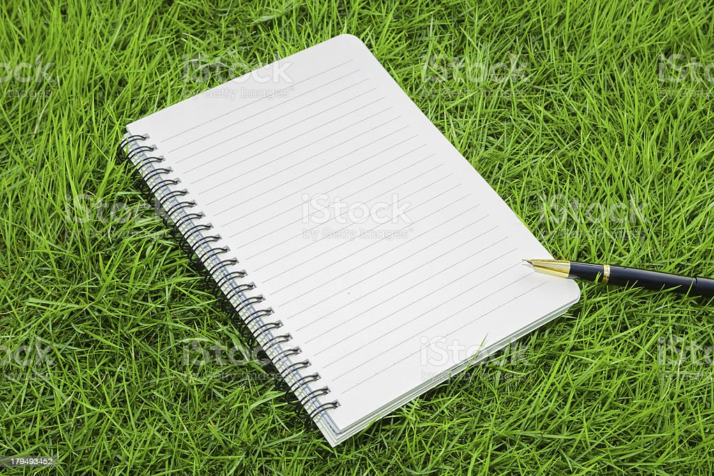 working in nature:Notebook and pen on real grass background royalty-free stock photo