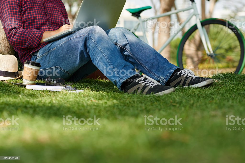 Working in park stock photo