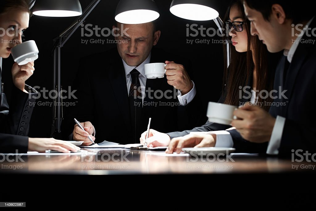 Working in the dark royalty-free stock photo