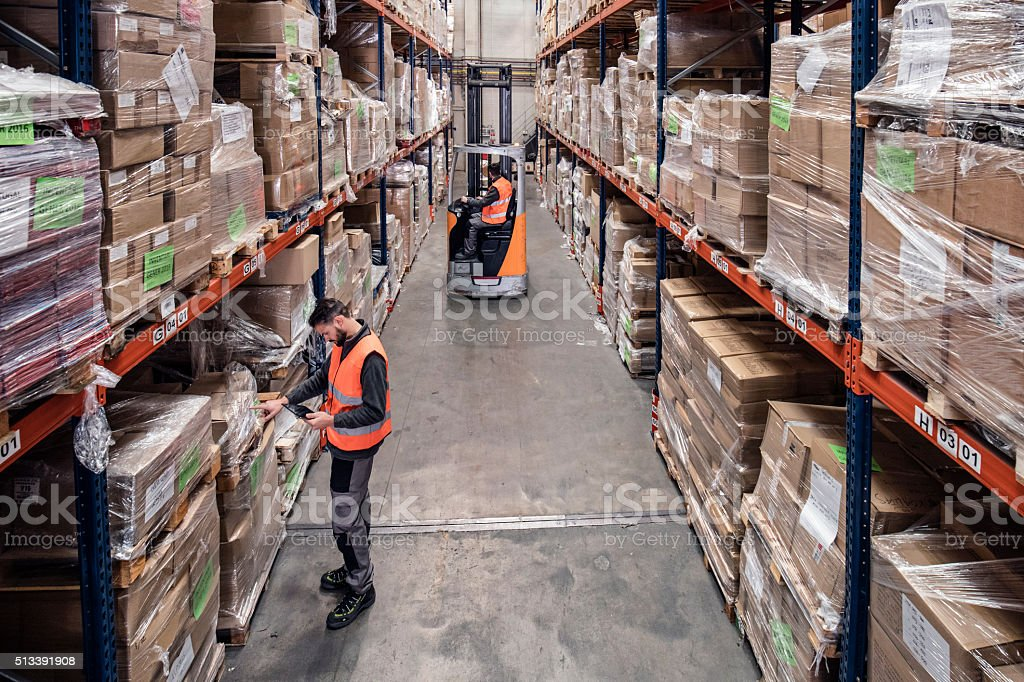 Working in the distribution warehouse stock photo