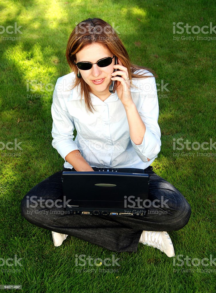 Working in the great outdoors royalty-free stock photo