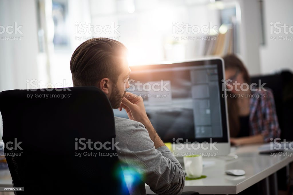 Working in the office stock photo