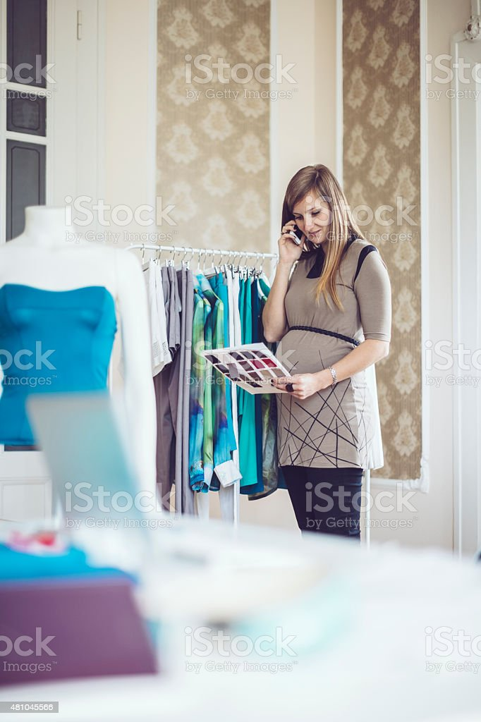 Working in the showroom stock photo