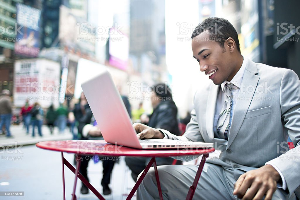 Working in Times Square royalty-free stock photo