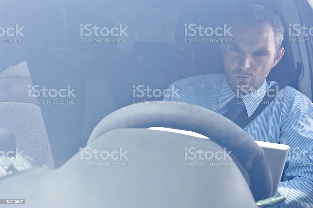 Working in traffic jam royalty-free stock photo
