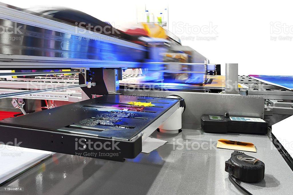Working industrial large format UV inkjet printer royalty-free stock photo