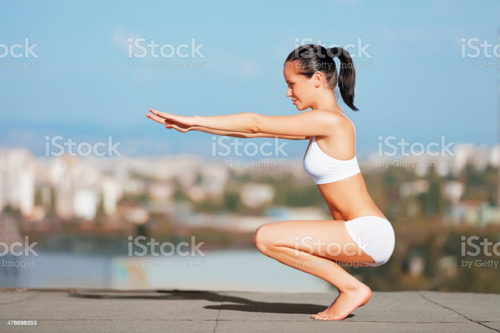 Working it all from the waist down! stock photo