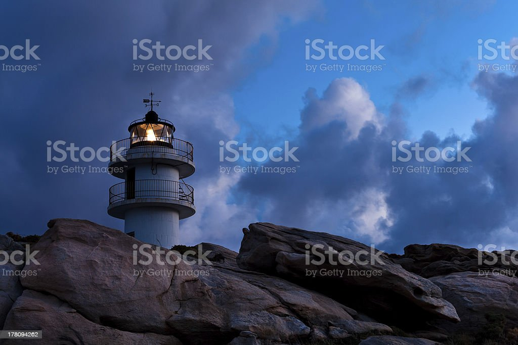 Working Lighthouse at Bad Weather royalty-free stock photo