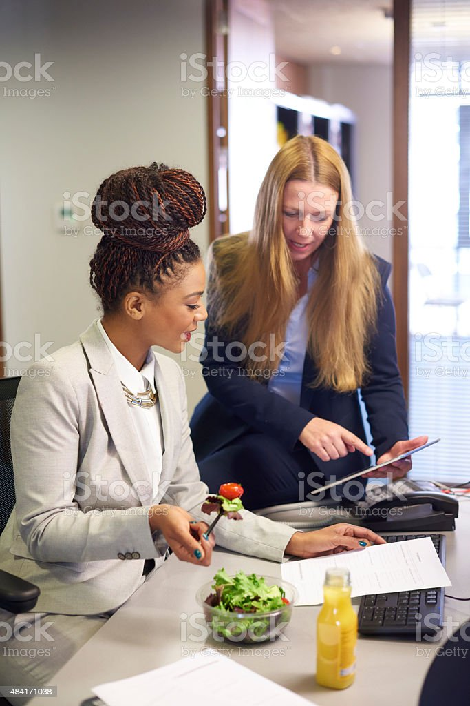 working lunch stock photo