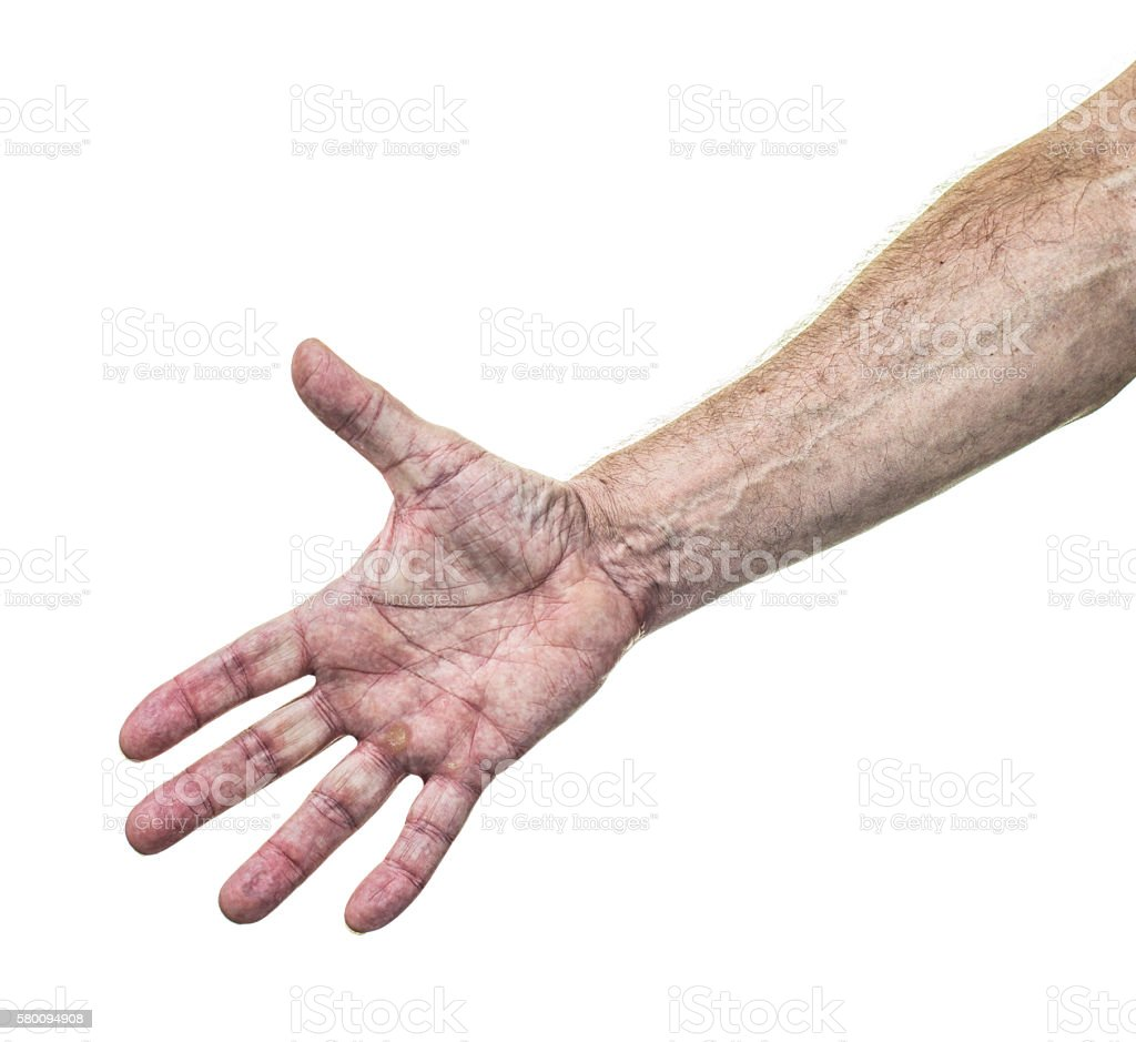 Working Man Palm of Hand and Weathered Skin Forearm stock photo