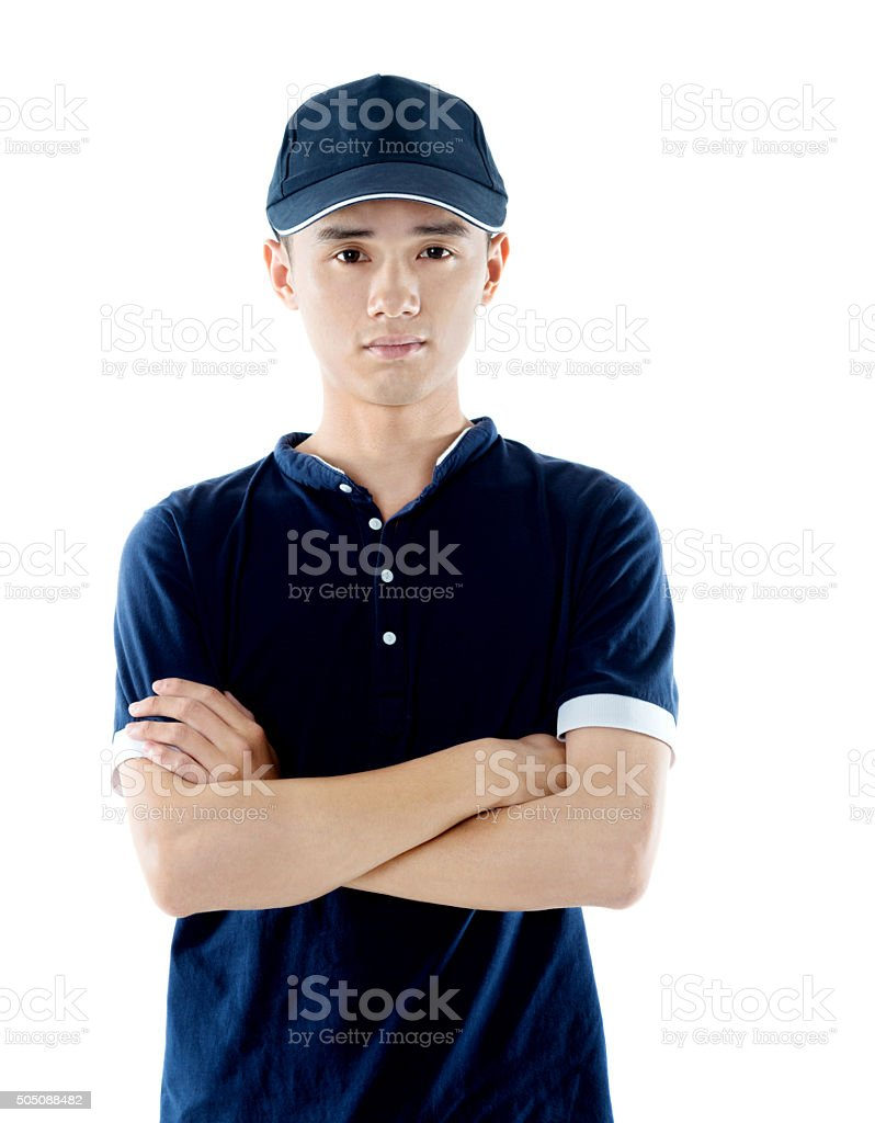 Working man with a baseball cap stock photo