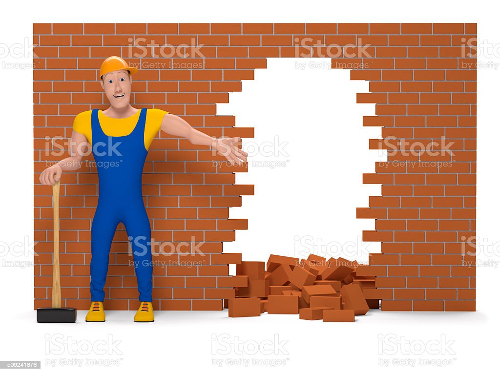 Working man with a sledgehammer destroys a brick wall stock photo