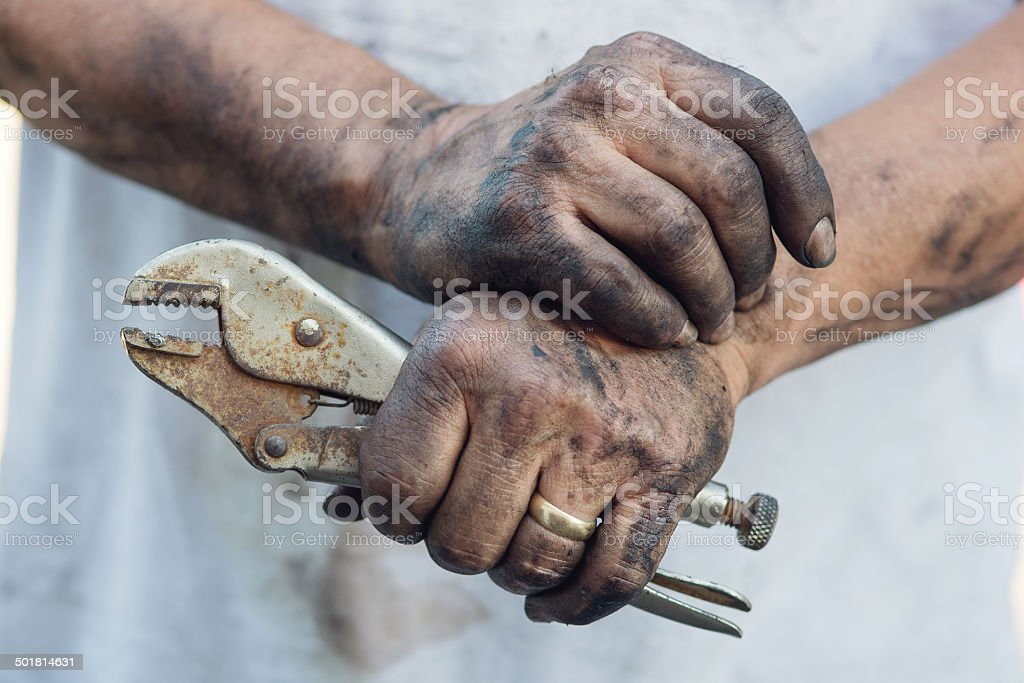 Working Man's Greasy hands, DIY stock photo