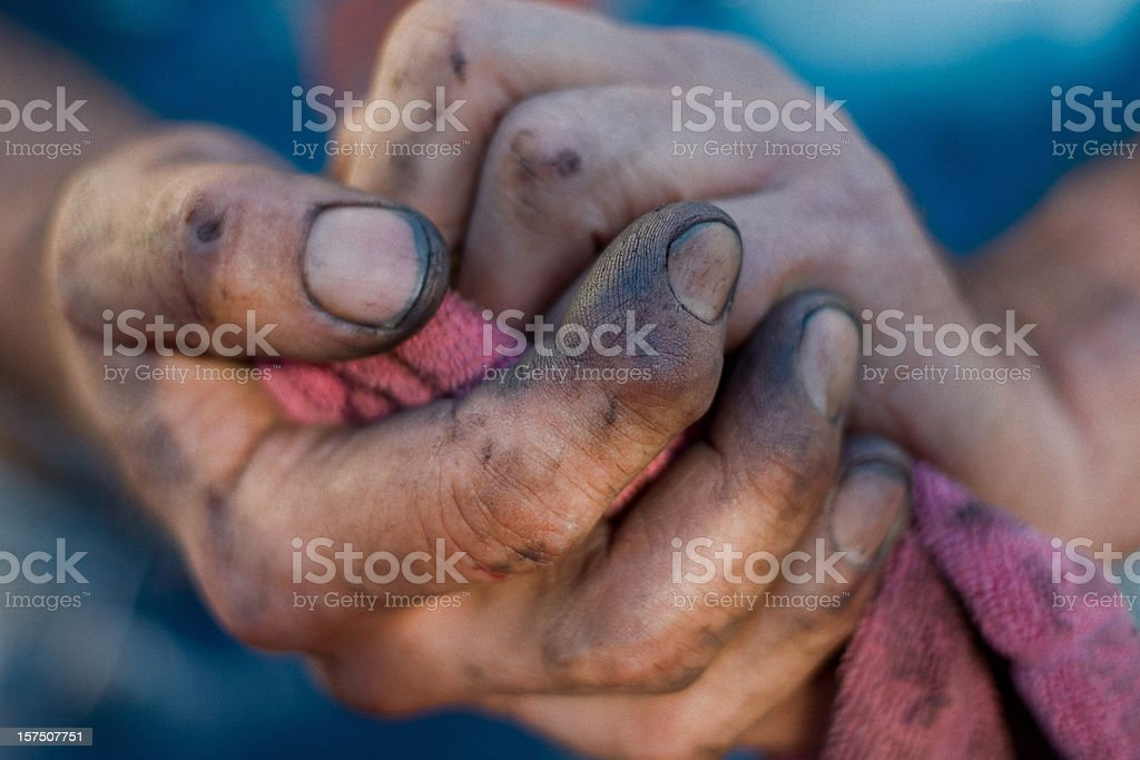 Working Man's Hands - Dirt Under Fingernails stock photo