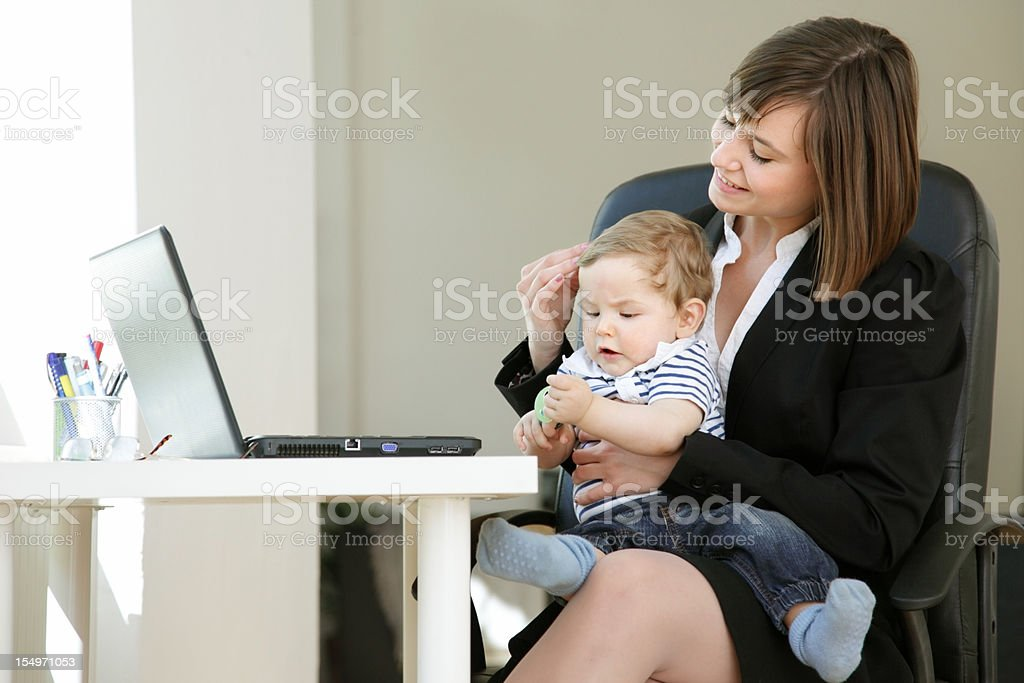 Working Mom at Home, happy royalty-free stock photo