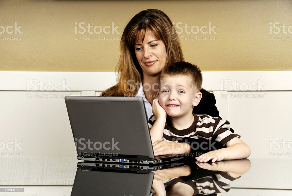 Working Mom Happy Kid royalty-free stock photo