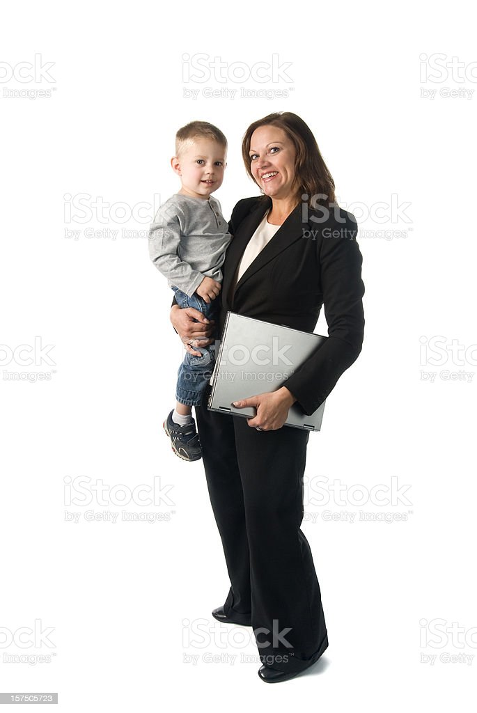 Working mother concept: businesswoman holding her son and laptop stock photo
