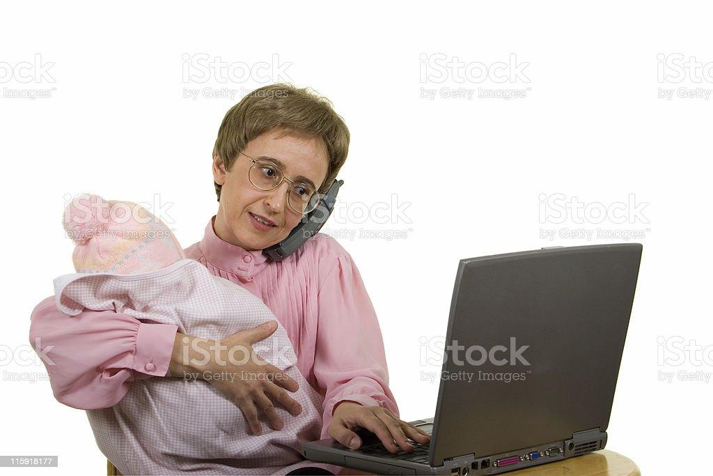 Working Mother - talking, typing, nursing... royalty-free stock photo
