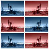Working oil pump jack at night time