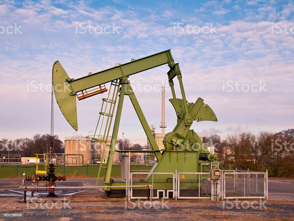 Working Oil Pump Jack stock photo
