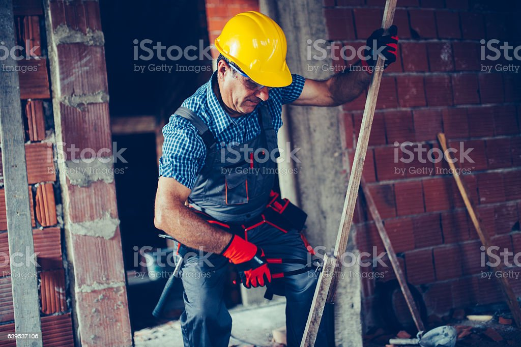 Working on a construction site stock photo