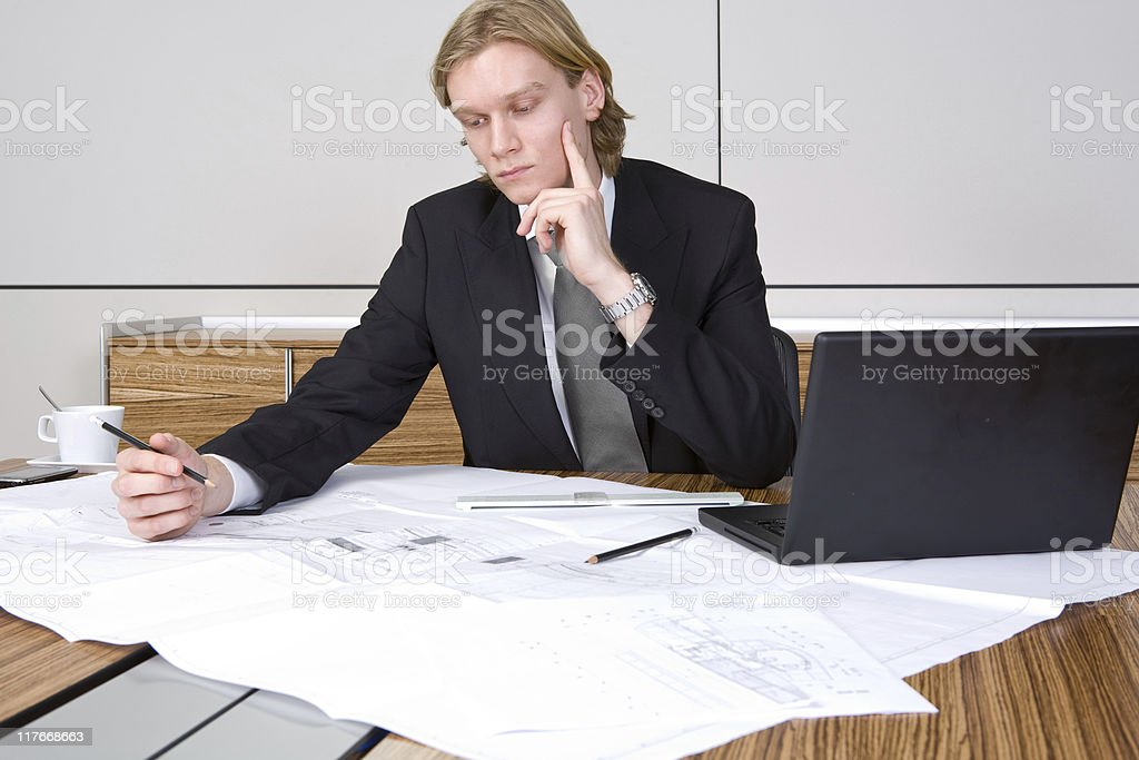 Working on a design royalty-free stock photo