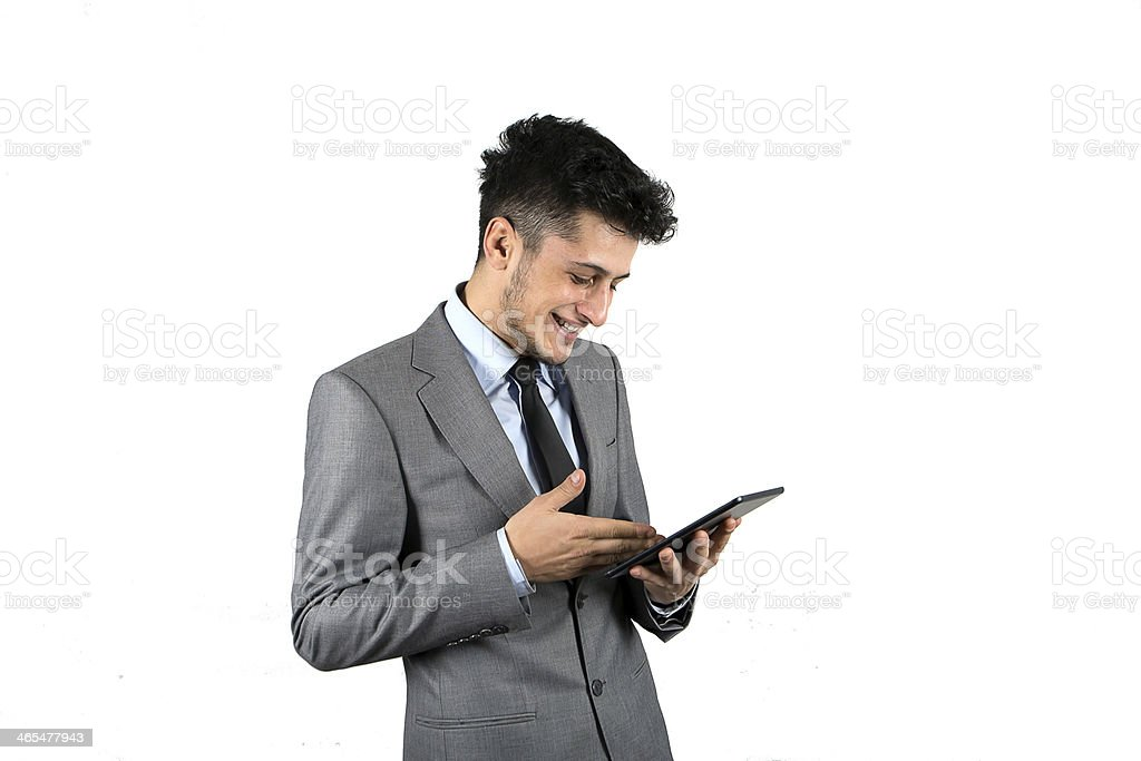 Working on a Digital Tablet royalty-free stock photo