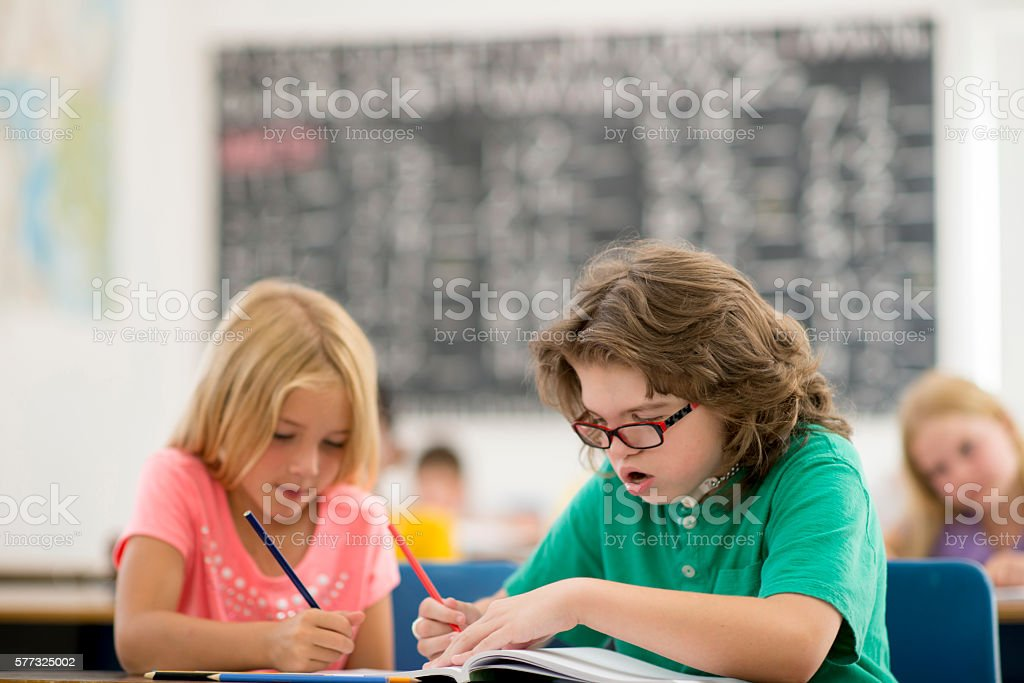 Working on a Group Project stock photo