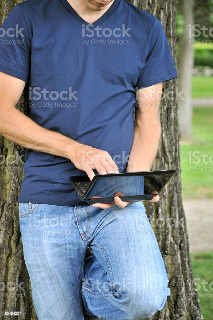 Working on a laptop stock photo