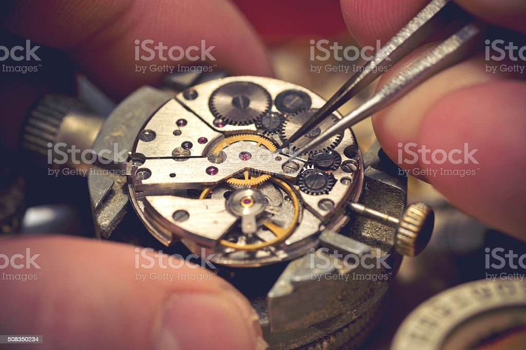 Working On A Mechanical Watch stock photo