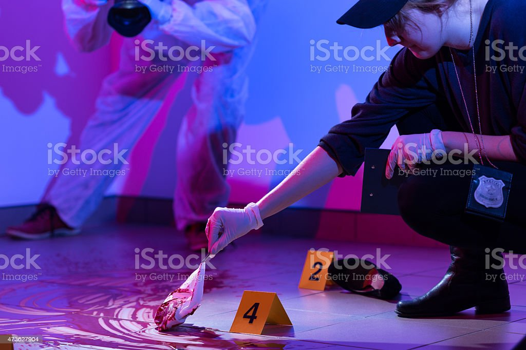 Working on a murder scene stock photo