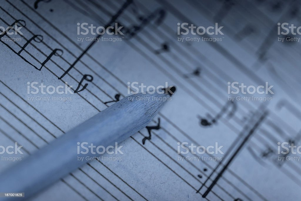 Working on a musical composition stock photo