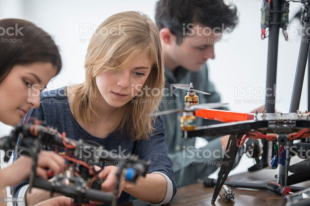 Working on a Robotic Drone stock photo