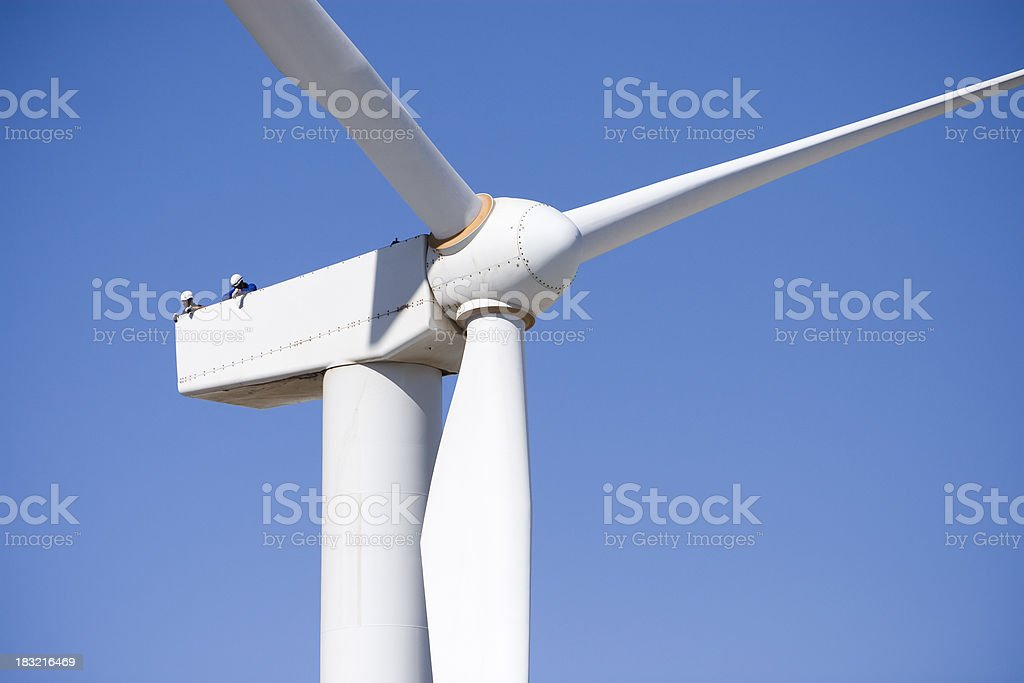 Working on a Wind Turbine royalty-free stock photo