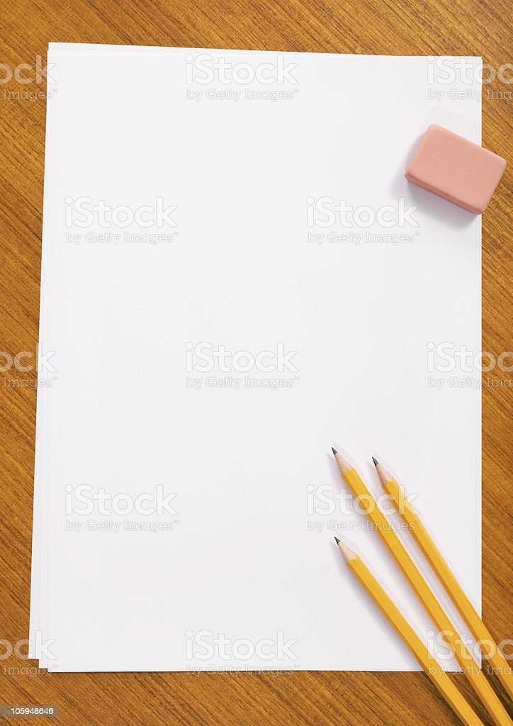 Working On a Wooden Table royalty-free stock photo