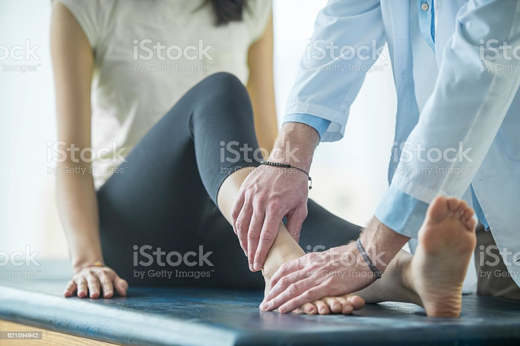 Working on an Ankle Injury stock photo