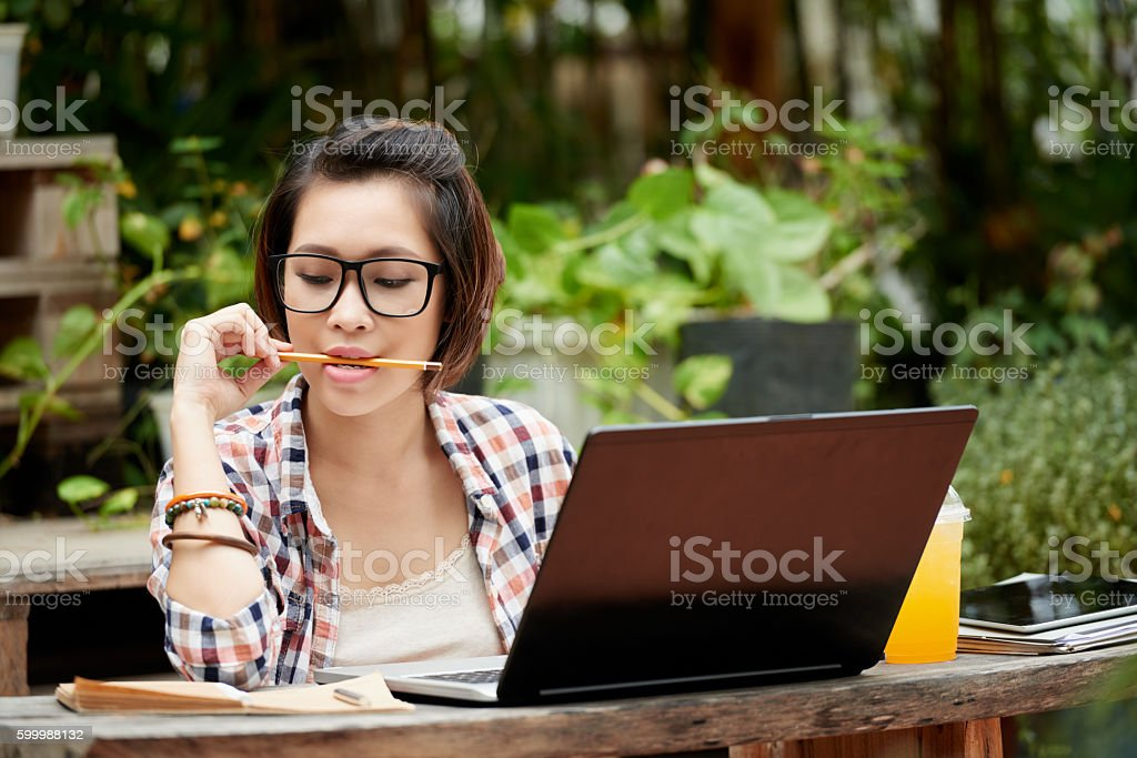 Working on article stock photo
