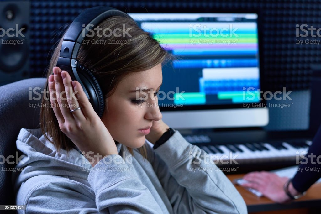 Working on audio project stock photo