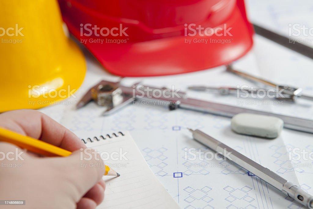 Working on Blueprints royalty-free stock photo