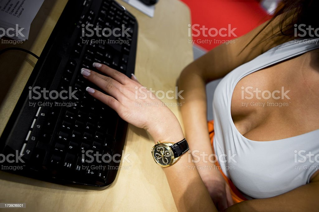 Working on computer royalty-free stock photo