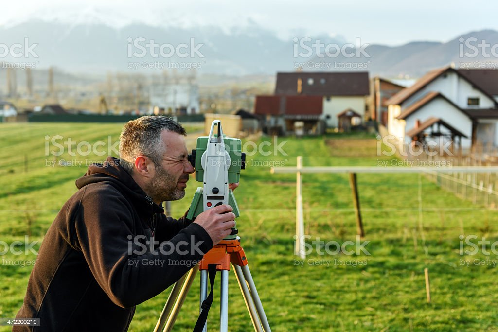 working on construction site stock photo