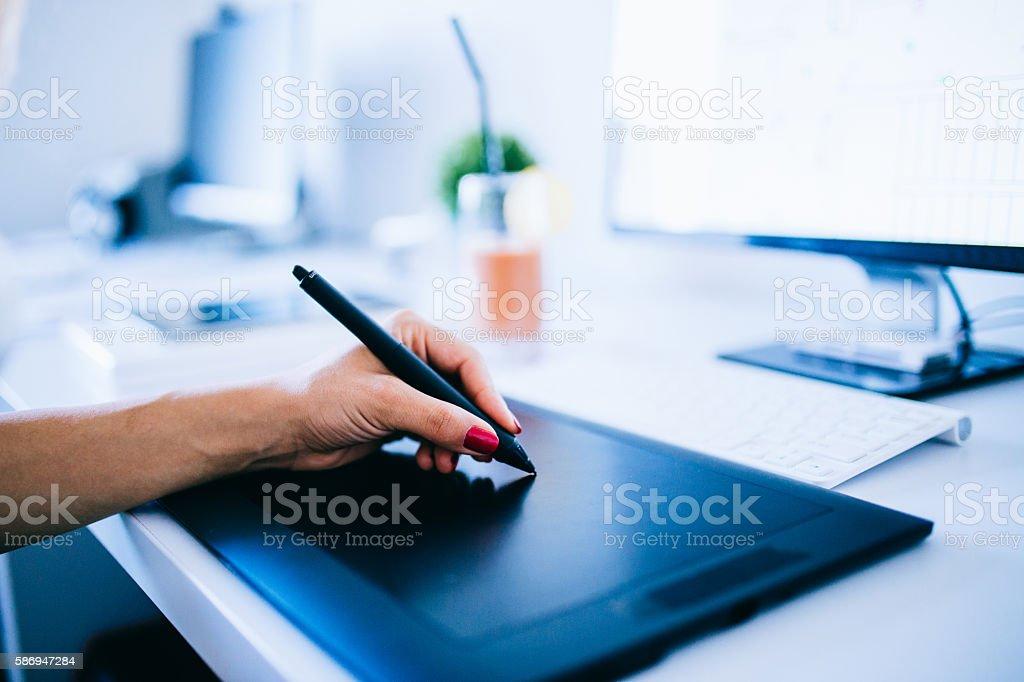 Working on drawing board stock photo
