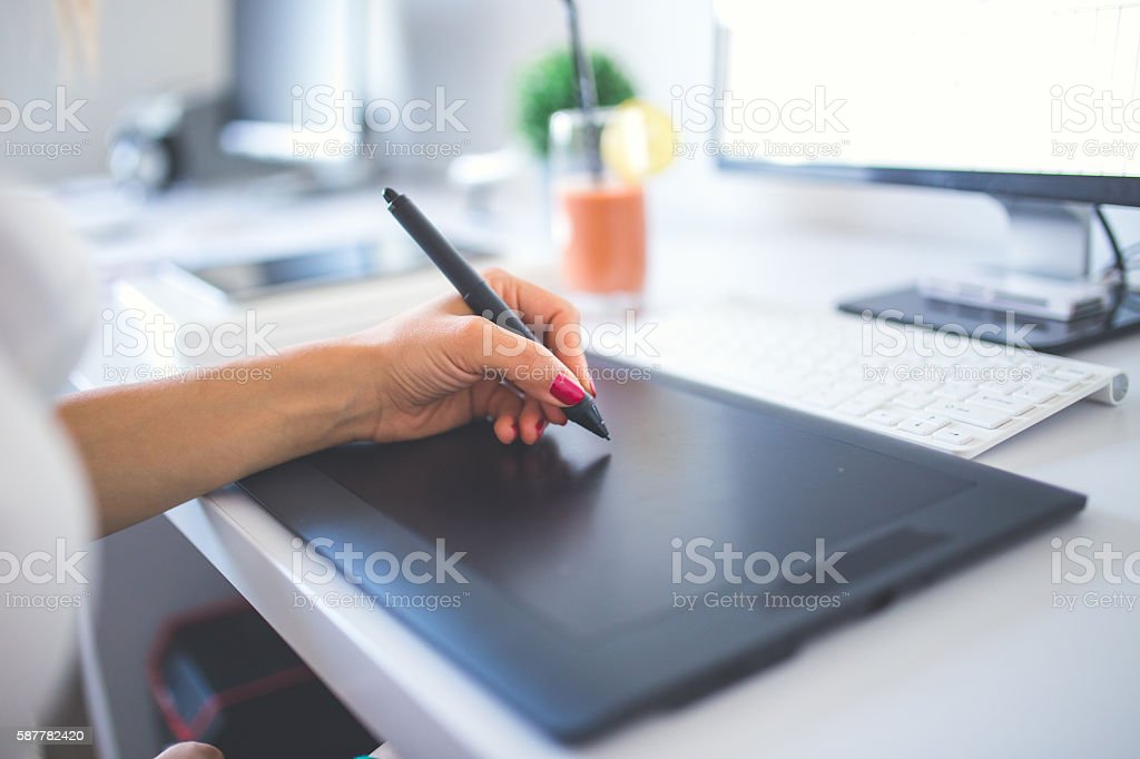 Working on drawing board stock photo
