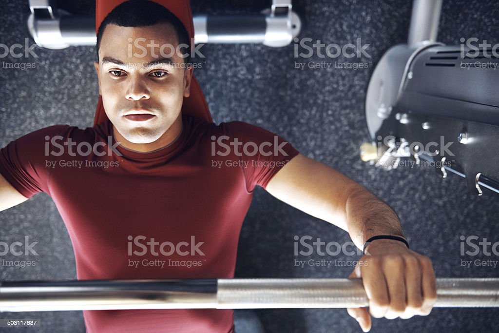 Working on his pecs royalty-free stock photo
