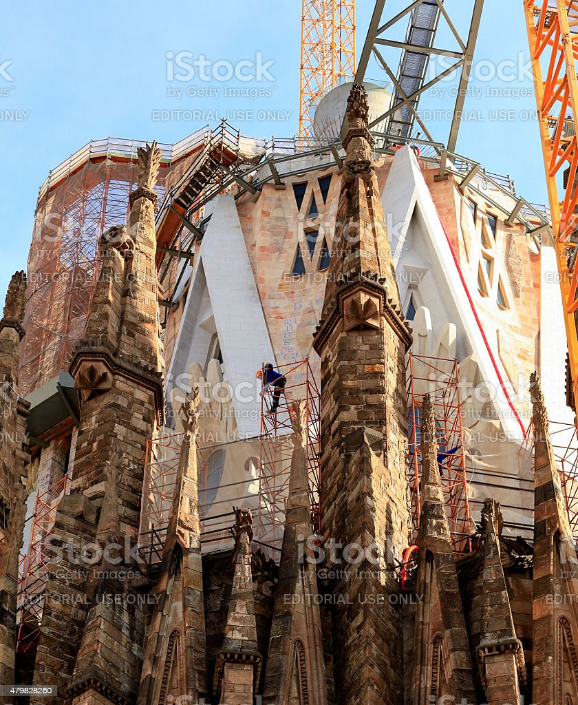 Working on La Sagrada Familia royalty-free stock photo
