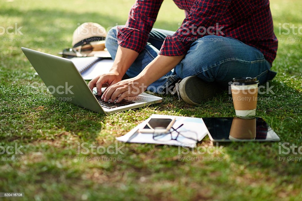 Working on laptop stock photo