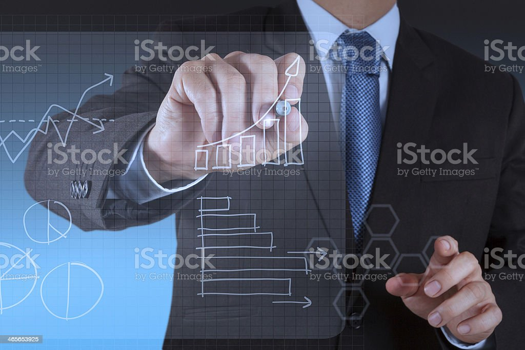 working on modern technology business royalty-free stock photo