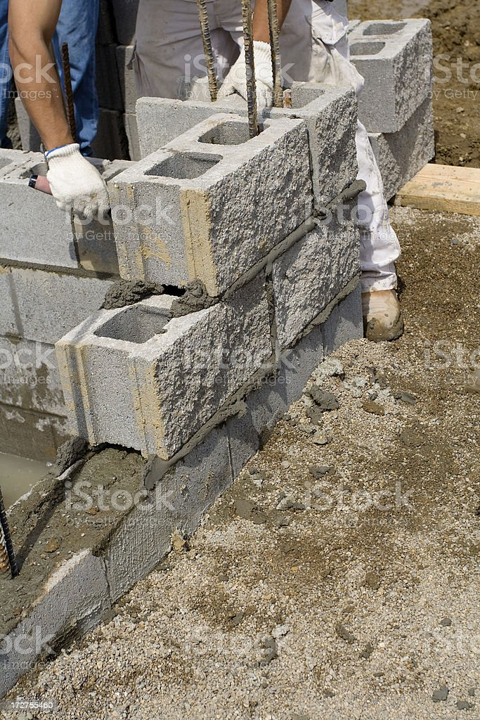 Working on Mortar stock photo